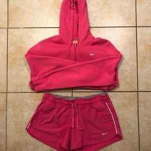 Nike Pink/White Hoodie/Shorts Jumpsuit Bundle L-XL